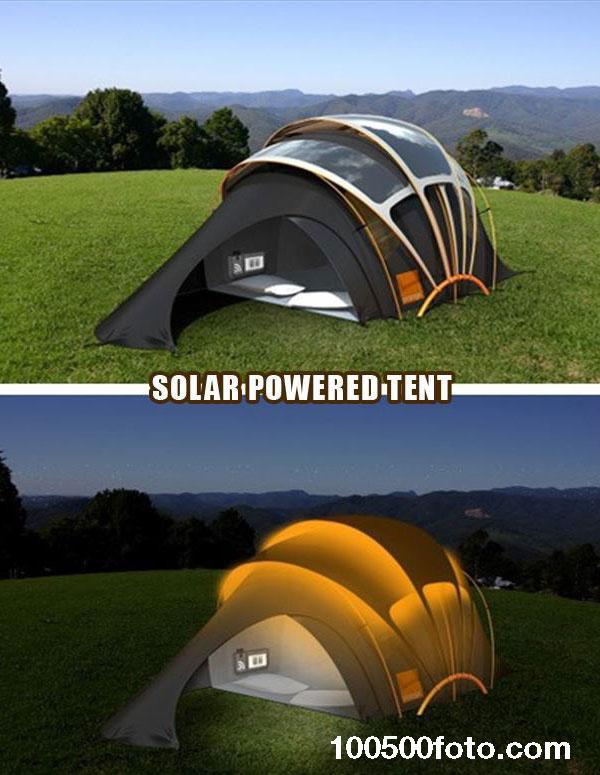 Палатка на солнечных батареях для решения проблемы с электричеством во время кемпинга