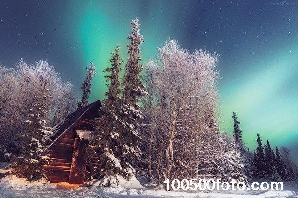 Зимняя ночь в Хибинах (Россия)