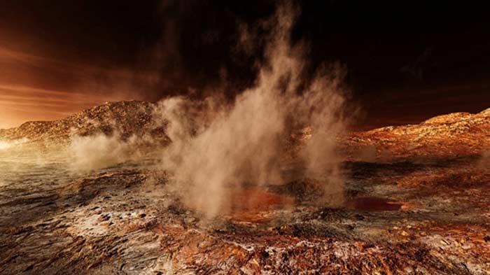 Фото пылевой бури на Марсе