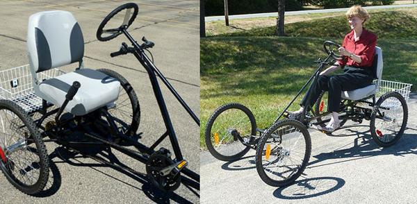 Необычный четырехколесный велосипед