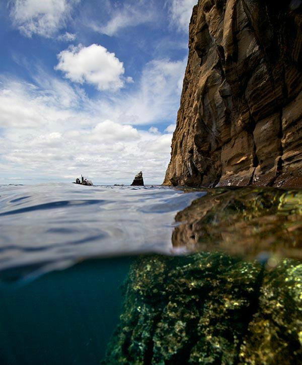 Фото на срезе воды: Галапагосские острова (Тихий океан)