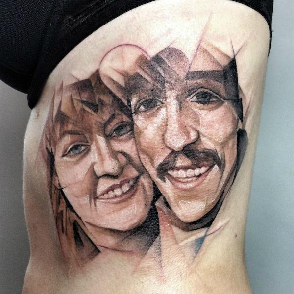 Татуировка в стиле кубизма