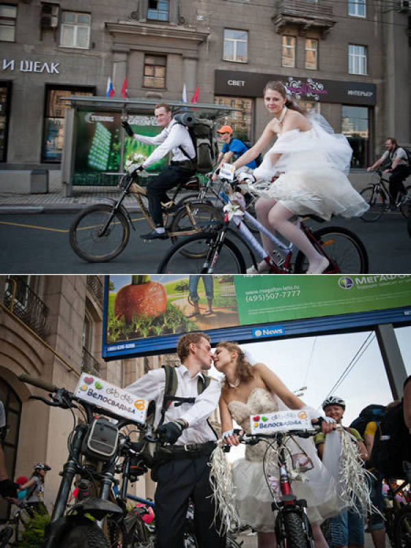 Молодожены на велосипедах