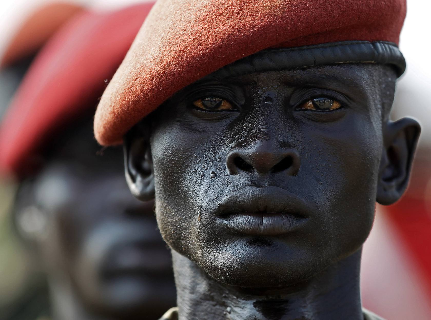 A SPLA soldier stands in line during a rehearsal of the Independence Day ceremony in Juba -0EMC4387.jpg-