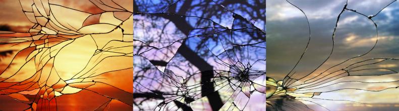 Фотографии закатов в разбитом стекле