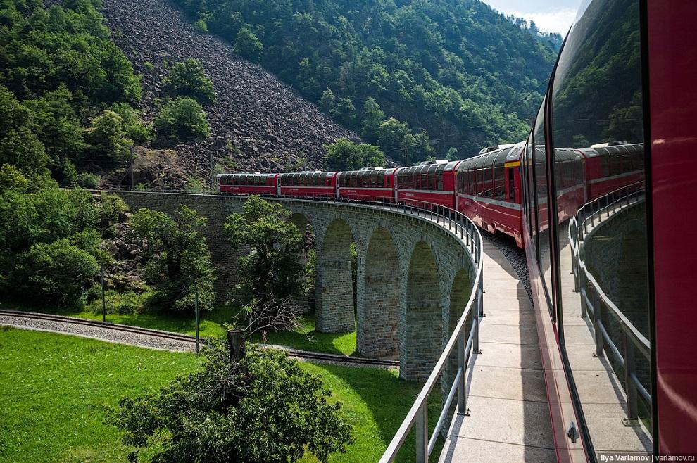 В Швейцарии красыва не только природа но и железные дороги