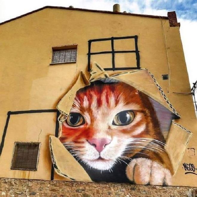 На стенах уличные художники рисуют всё что угодно