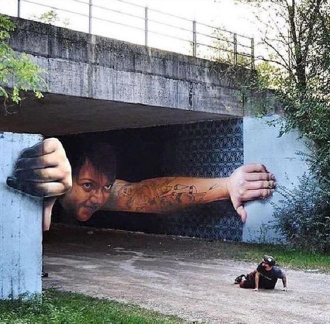 Изображения стрит-арта иногда бывают очень реалистичными