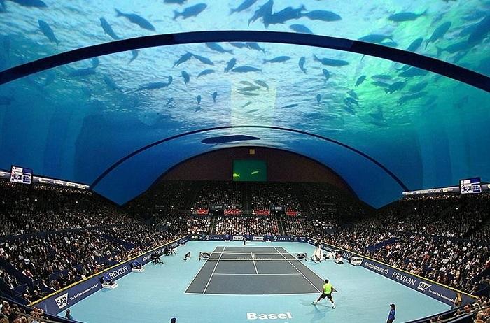 Теннисный корт на дне океана